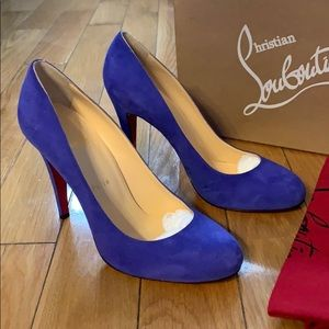 NWT LOUBOUTIN Blue Suede Ron Ron Stiletto Pumps